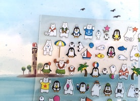 Penguin polar bear summer holiday sticker Arctic animal baby penguin antarctic kawaii animal penguin label penguin theme kids little gift