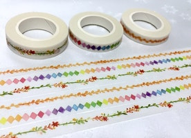 3 rolls flower wreath washi tape 5M x 7mm colorful kite golden leaf slim sticker garden planner diary colorful sticker tape gift wrapping