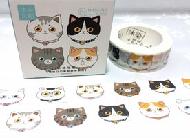 cute cat washi tape 7M cat head gray cat meow meow cartoon pussycat masking tape cat planner sticker tape kawaii cat diary cat gift decor