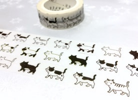 walking cat washi tape 7M black cat white cat kawaii cat cartoon cat pretty pussycat masking tape cat planner sticker cat diary meow decor