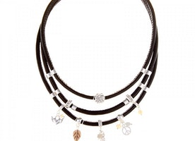 Multi-Charm Short Necklace - Black/Silver