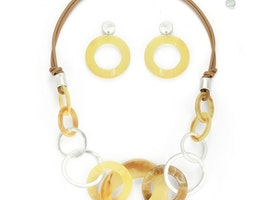 Link Combined Pieces Necklace Set - Brown/Yellow