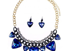 Triangle Stone Chain Necklace Set - Blue