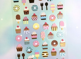 cupcake donuts sticker tea time fork spoon lovely Dessert planner sticker Baking Time cupcake party decor sticker cooking recipes sticker