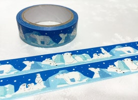 polar bear washi tape 5M polar bear north pole iceberg masking tape winter theme ice land white bear animal sticker tape scrapbook decor