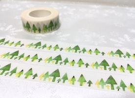 green Tree washi tape 10M Green forest Green garden Masking tape Green world scenes tree landscape green landscape scenes green sticker tape