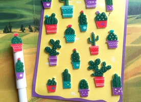 cactus sticker botanical fat plant embellishment Cactus Chart Botany felt sticker green Plants cute potted plant gardening planner sticker