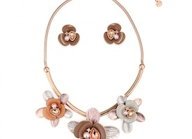 Three Flower Necklace Set - Rose Gold/Coffee