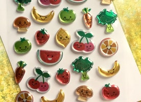 happy fruit cartoon fruit vegetable sticker colorful fruit 3D Strawberry apple orange watermelon cherry banana broccoli carrot sticker gift