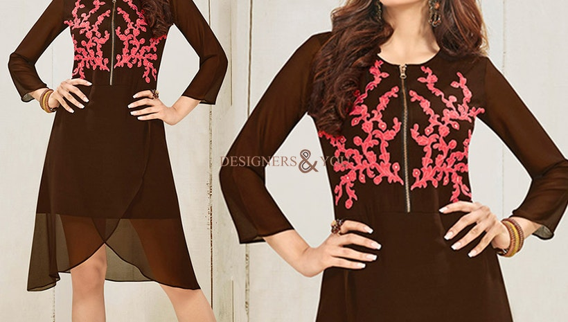 Delightful Brown Georgette Front Zip Assymetric Kurti By Designersandyou