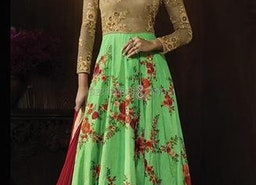 Comely Beige N Green Embroidered Silk Floor Length Anarkali Suit Party Wear By Designersandyou
