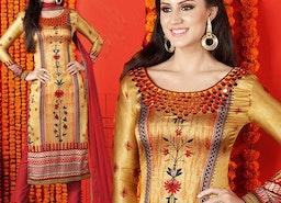 Prepossessing Gold Printed Satin Pakistani Shalwar Kameez By Designersandyou