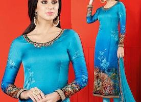 Comely Blue Printed Satin Pakistani Salwar Kameez By Designersandyou