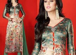 Nice Green Printed Satin Aline Salwar Kameez By Designersandyou