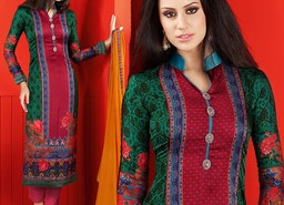 Smashing Green Printed Satin Aline Suit By Designersandyou