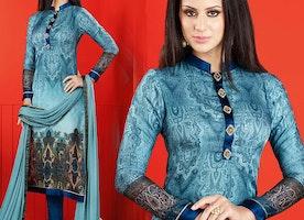 Divine Blue Printed Satin Chinese Collar Aline Dress By Designersandyou