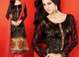 Aesthetic Brown Printed Satin Pakistani Suit By Designersandyou