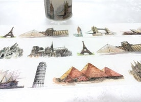 miracles of the world Washi Tape 5M x 3cm pyramid, cologne cathedral, Louvre Pyramid ,sydney opera house, golden gate bridge ,eiffel tower