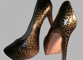 Hand Painted Elegant Gold Swirl Heels
