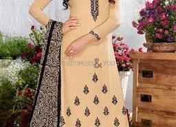 Striking Cream Embroidered Georgette Pakistani Dress By Designersandyou