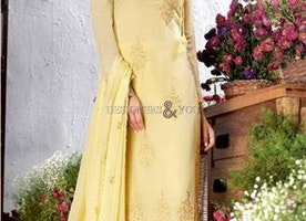 Prepossessing Yellow Embroidered Georgette Pakistani Suit By Designersandyou