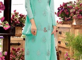 Comely Green Embroidered Georgette Straight Salwar Kameez By Designersandyou