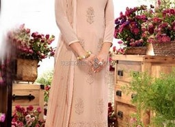 Nice Peach Embroidered Georgette Straight Dress By Designersandyou