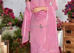 Smashing Pink Embroidered Georgette Straight Suit By Designersandyou