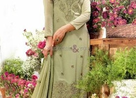 Divine Green Embroidered Georgette Aline Salwar Kameez By Designersandyou