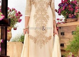 Aesthetic Off White Embroidered Georgette Aline Suit By Designersandyou