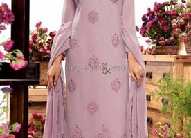 Exquisite Purple Embroidered Georgette Aline Dress By Designersandyou