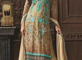 Fascinating Beige Digital Print Georgette Pak Fashion Dress By Designersandyou