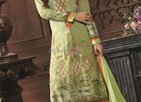 Captivating Green Digital Print Georgette Pak Fashion Suit By Designersandyou