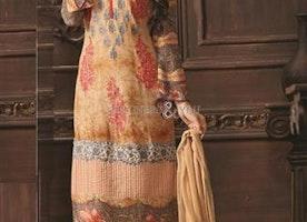 Enchanting Peach Digital Print Georgette Aline Dress By Designersandyou