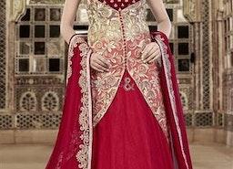 Stylish Cream N Maroon Jacket Style Net N Velvet Wedding Chaniya Choli By Designersandyou