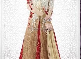Lovable Beige N Cream Heavy Work Net Wedding Lehenga By Designersandyou