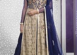 Nice Blue N Grey Resham Embroidered Net N Velvet Wedding Ghagra By Designersandyou