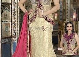 Fashionable Cream Fish Cut Style Net N Velvet Bridal Ghagra Choli By Designersandyou