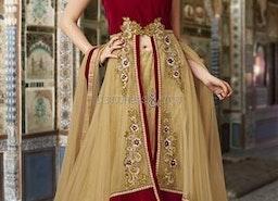 Smart Beige N Red U Neck Style Net N Velvet Bride Chaniya Choli By Designersandyou