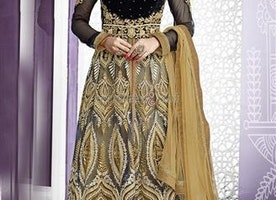 Fascinating Beige Boat Neck Style Net Bridal Lehenga For D Day By Designersandyou