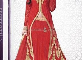 Enchanting Red Front Cut Net Bridal Lehenga Choli By Designersandyou