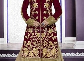 Prepossessing Maroon Lace Work & Embroidered Velvet Bridal Ghagra By Designersandyou