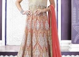 Comely Cream N Peach Resham Embroidered & Stone Work Net Bridal Chaniya By Designersandyou