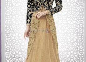 Smashing Beige N Black Embroidered Net N Velvet Bridal Lehenga Choli By Designersandyou