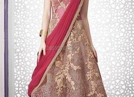 Divine Pink Zari Worked Net Lehenga Choli For Brides By Designersandyou