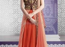 Exquisite Orange N Peach Thread Worked Net N Velvet Bridal Lehenga By Designersandyou