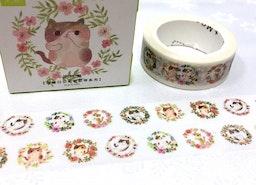 cat flower wreath washi tape 7M cat circle cat flower garden kawaii cartoon cat pussycat masking tape cat planner sticker cat meow diary