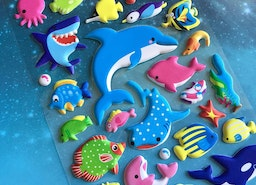 ocean fish sticker deep blue sea shark blue whale sea animal puffy sticker sea world fish world colorful fish decor underwater theme sticker