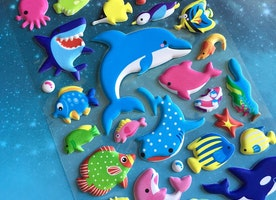 ocean fish sticker deep blue sea shark blue whale sea animal puffy sticker sea world fish world colorful fish decor underwater theme sticker