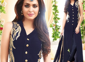 Prepossessing Blue Georgette Latest Fashion Salwar Kameez By Designersandyou